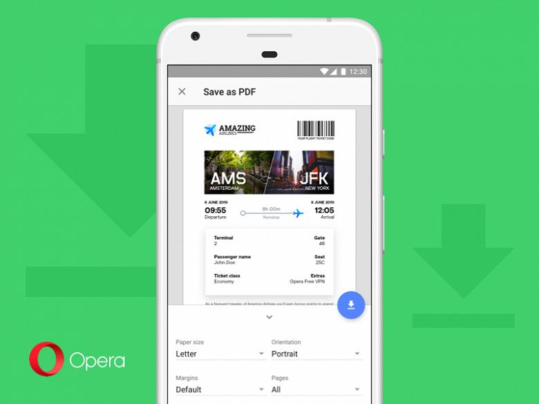 В мобильном браузере Opera появилась возможность сохранять web-страницы в PDF