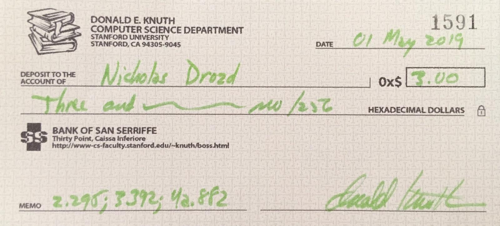 Я получил от Кнута чек на 0x$3,00 - 1