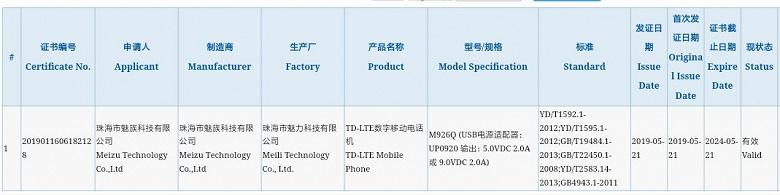 Meizu 16Xs оснащен 18-ваттным зарядным устройством