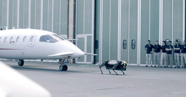 Четырехногий робот буксирует трехтонный самолет: видео