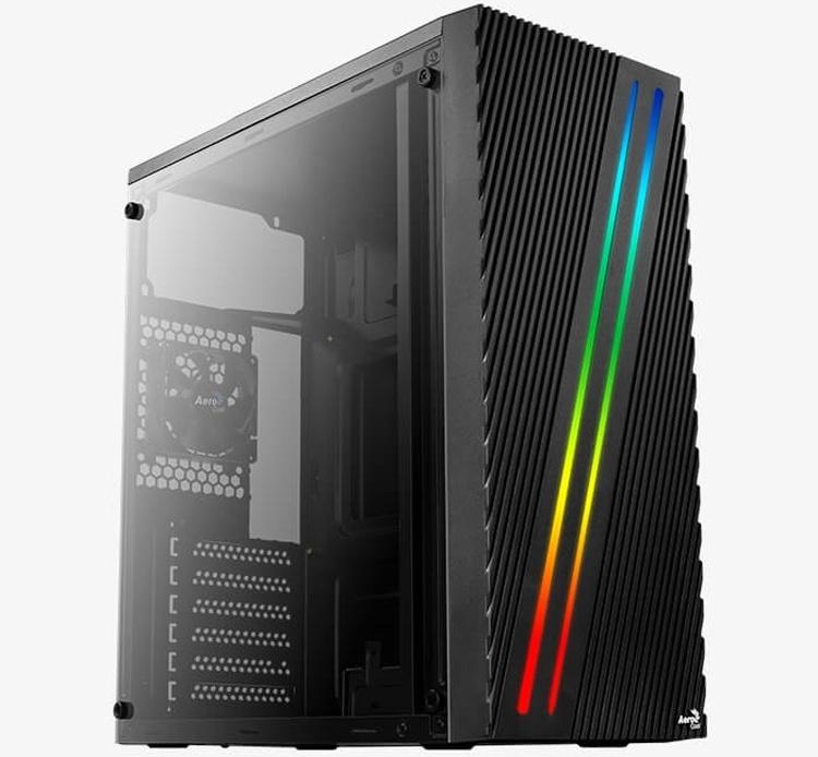 Фронтальную панель корпуса Aerocool Streak рассекают две RGB-полосы