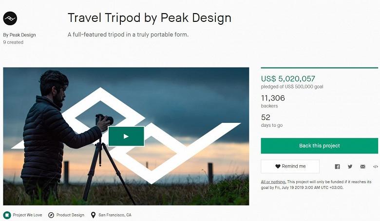 На выпуск штатива Travel Tripod уже собрано более 5 млн долларов