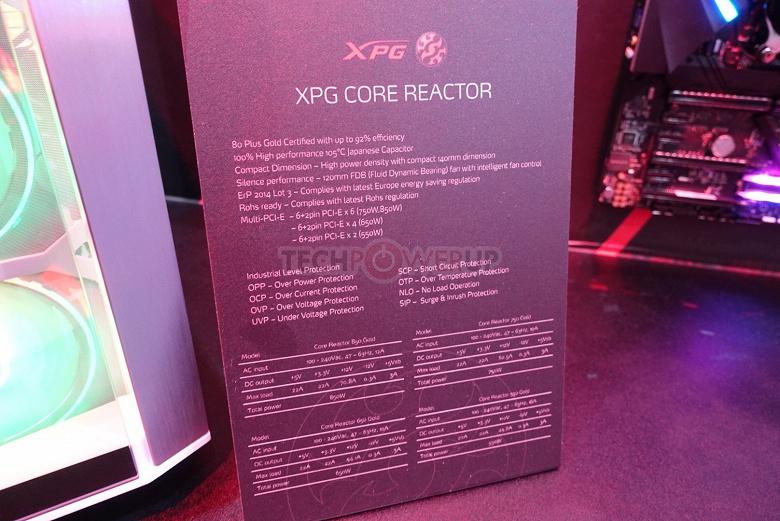 Adata выходит на рынок блоков питания с серией XPG Core Reactor