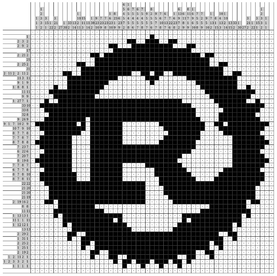 Rust logo as nonogram