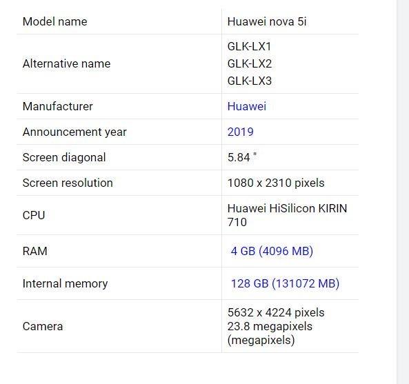 Подробные характеристики смартфона Huawei Nova 5i: камера с четырьмя датчиками, SoC Kirin 710 и аккумулятор емкостью 3900 мА·ч