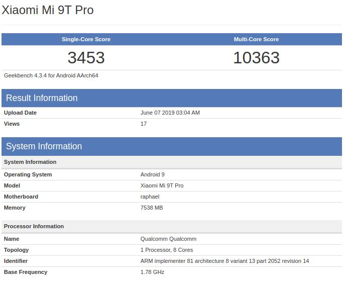 Xiaomi Mi 9T Pro показал возможности в Geekbench