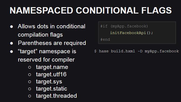 Поддержка пространств имен для флагов компиляции