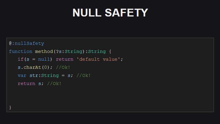 При осуществлении проверок на Null-безопасность компилятор принимает во внимание порядок выполнения программы