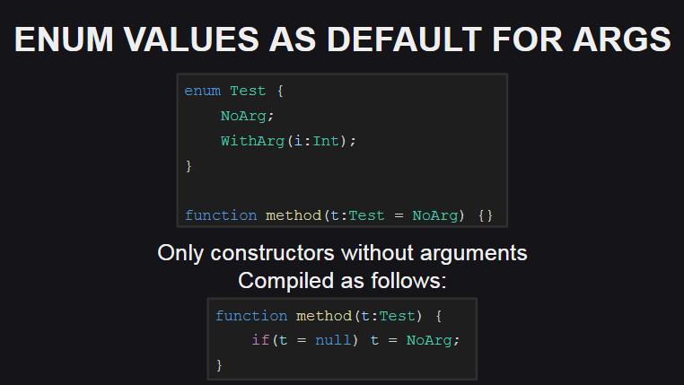 Значения по-умолчанию для перечислений-аргументов функций