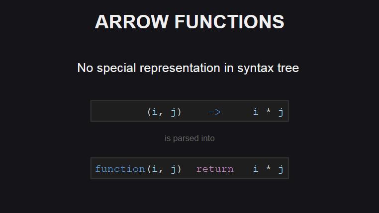 У стрелочных функций нет специального представления в синтаксическом дереве