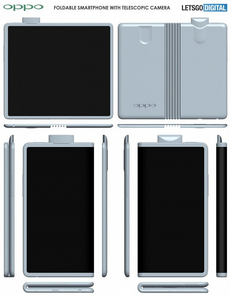 Смартфон Oppo с гибким экраном и выдвижной камерой позирует на рендерах