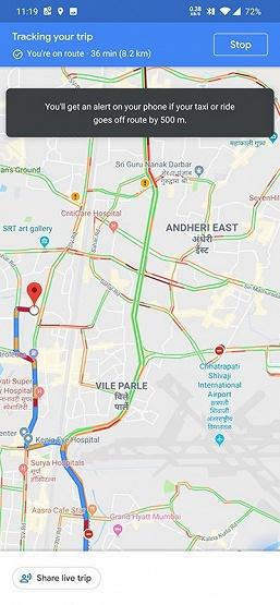 Карты Google сообщат, если водитель такси слишком отклонился от маршрута