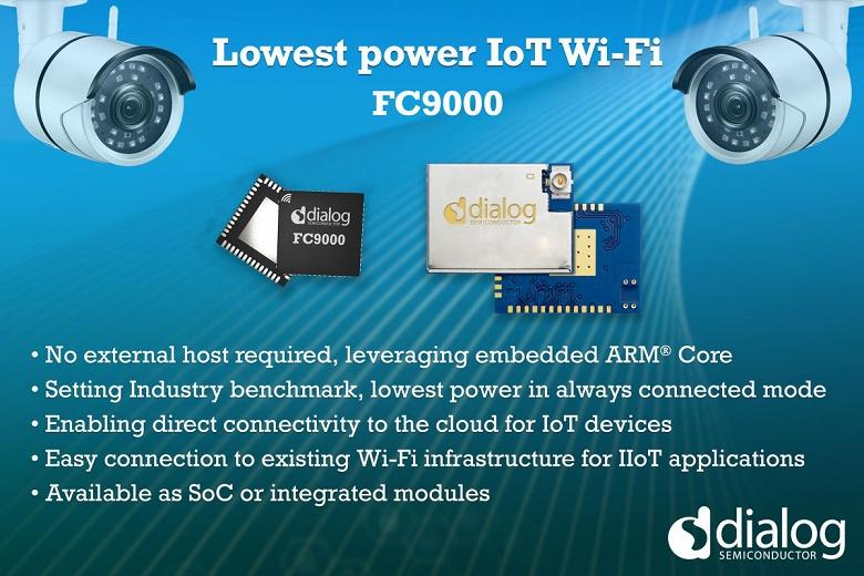 Однокристальная система Dialog Semiconductor FC9000 с поддержкой Wi-Fi и сверхнизким энергопотреблением предназначена для устройств IoT