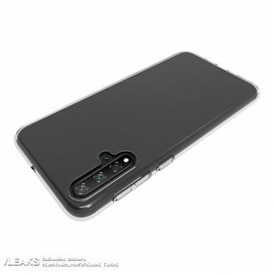 Изображения Huawei Nova 5 в чехле подтверждают наличие экрана с каплевидным вырезом и основной камеры с четырьмя датчиками