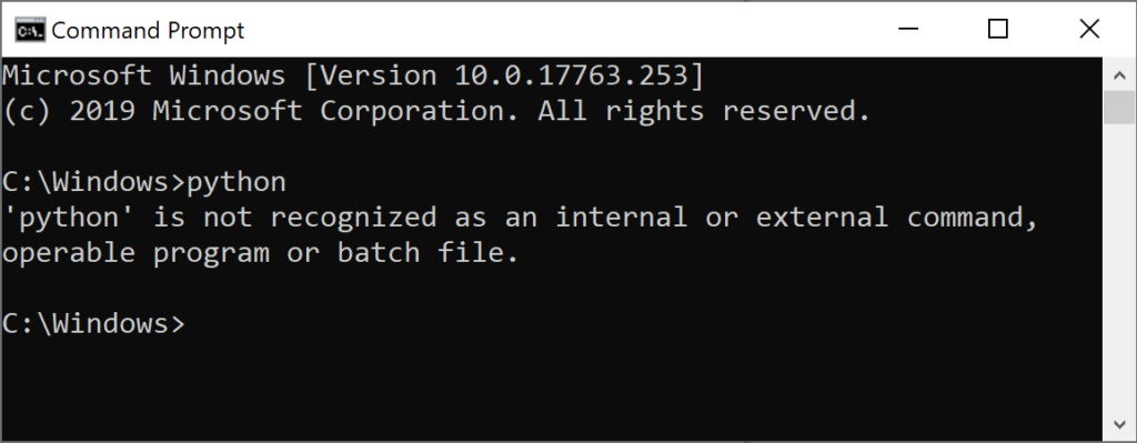 The Windows command prompt showing an error when Python cannot be found