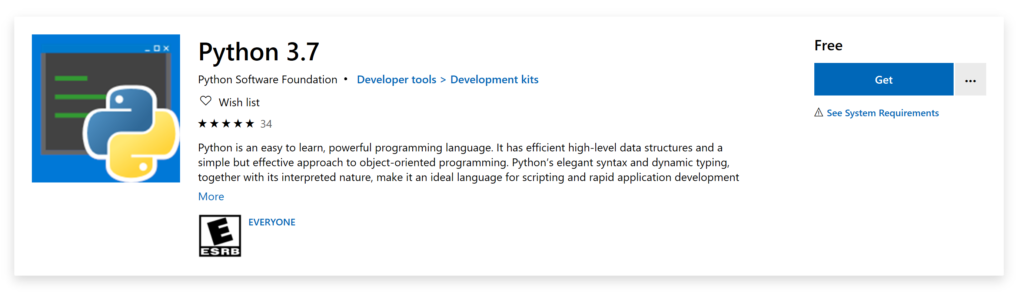 The header of the Python 3.7 page in the Microsoft Store