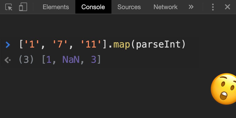 Почему ['1', '7', '11'].map(parseInt) возвращает [1, NaN, 3] в Javascript? - 1