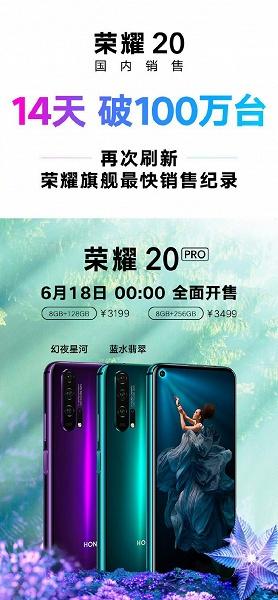 Всего за две недели в Китае продано свыше одного миллиона смартфонов Honor 20