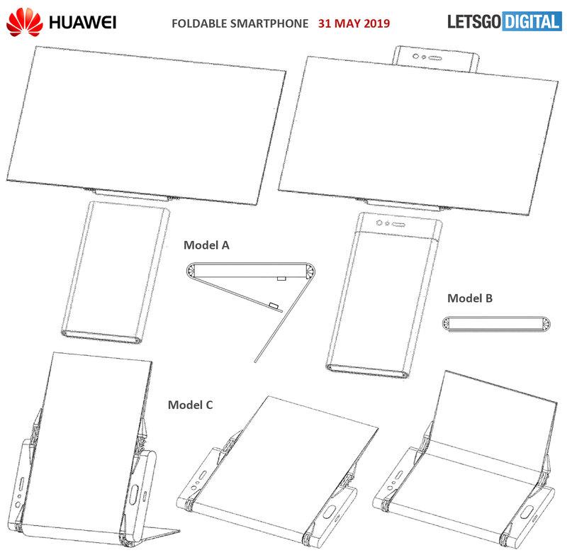 Huawei запатентовала смартфон с экраном, складывающимся с двух сторон