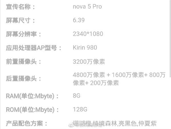 Стало известно, чем отличаются смартфоны Huawei Nova 5 Pro, Nova 5 и Nova 5i