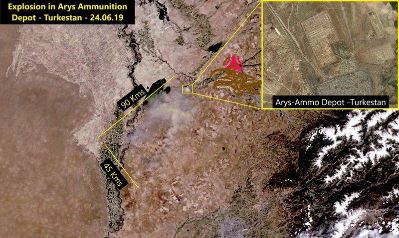 Видео: в Казахстане взорвался склад боеприпасов, город Арыс эвакуируют