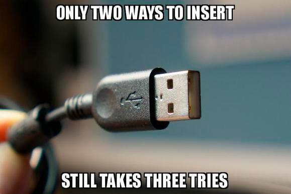 Автор разъёма USB сожалеет, что сделал его несимметричным. Но так было дешевле - 1