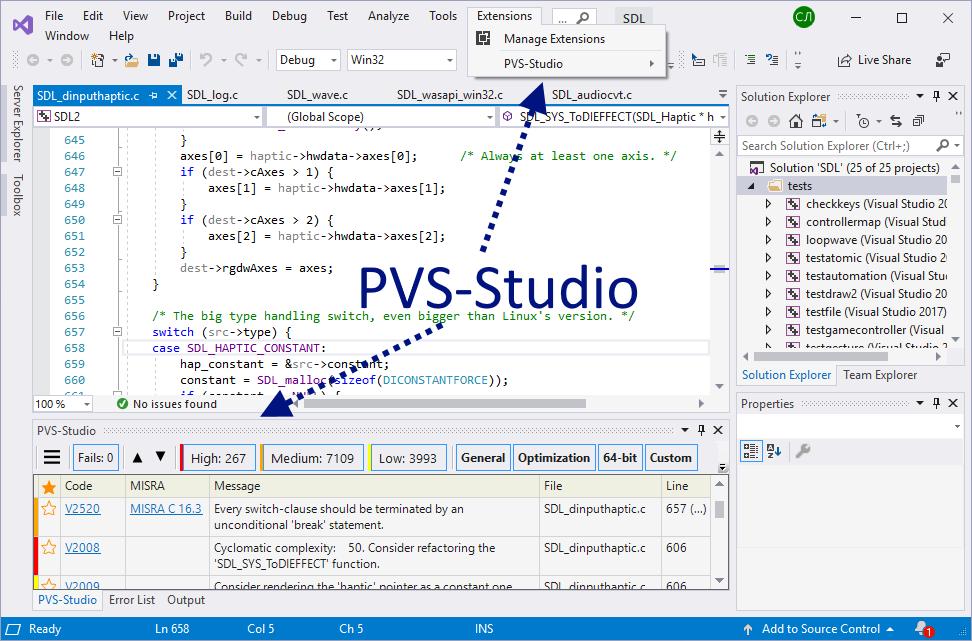 Рисунок 2. Основные элементы, добавляемые анализатором PVS-Studio при интеграции в Visual Studio.