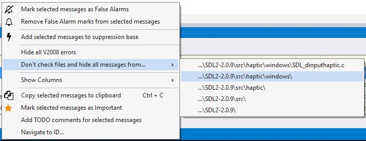Рисунок 6. Исключение файлов из проверки.