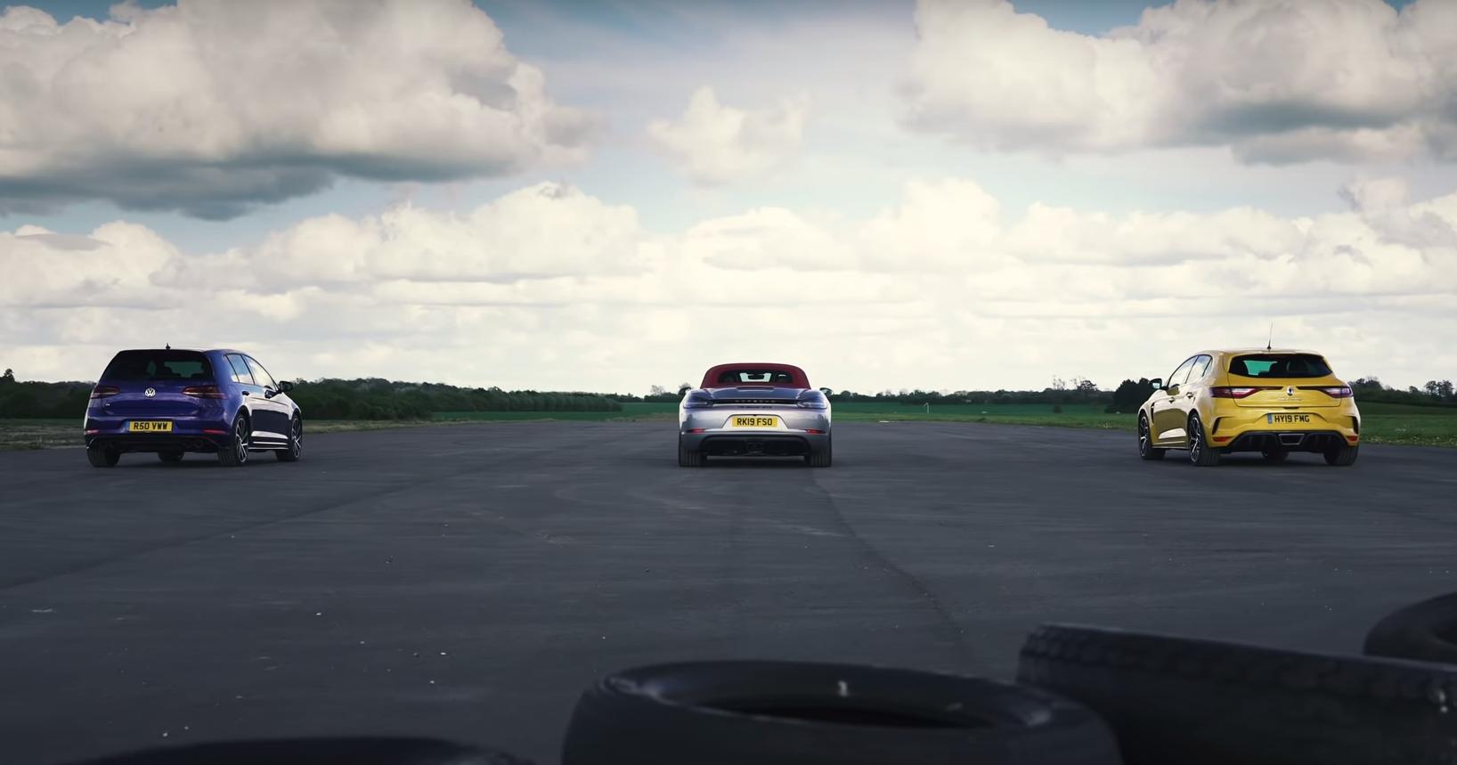VW Golf R, Porsche Boxster GTS  и Reanaultsport Megane Trophy: дрэг-гонка
