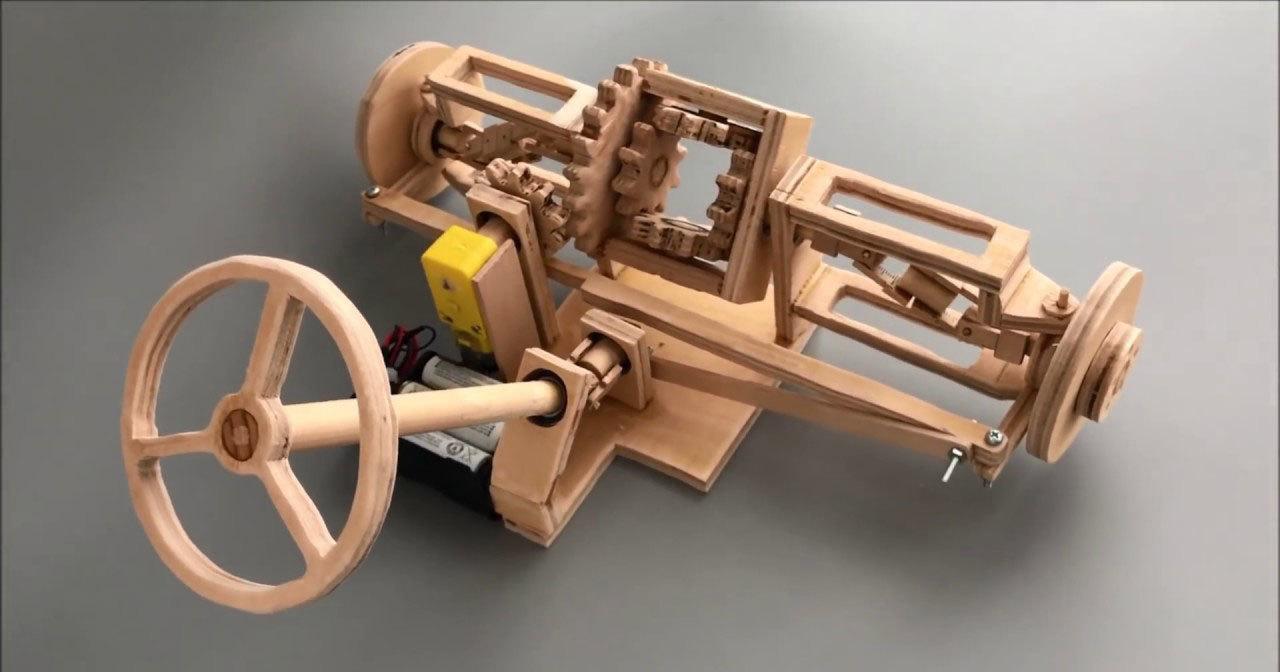 Передняя подвеска с дифференциалом и рулевым механизмом из дерева