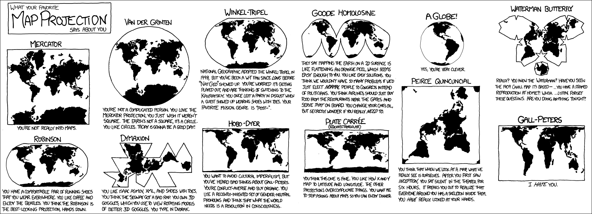 Проекции карт: о чём на самом деле шутит xkcd - 1