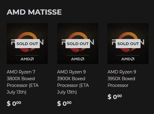 13 июля в продажу поступят скальпированные AMD Ryzen 7 3800X и Ryzen 9 3900X