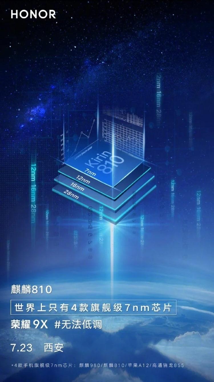 Официально: смартфон Honor 9X получит чип Kirin 810
