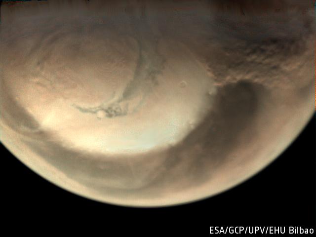 Орбитальный аппарат разглядел пылевые бури на Марсе