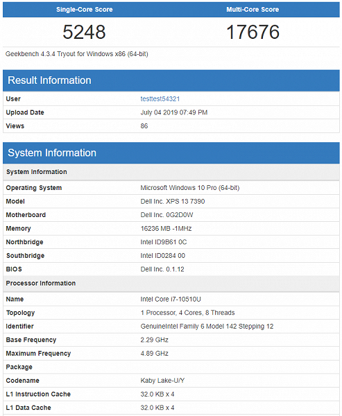 Процессор Intel Core i7-10510U (Comet Lake-U) разгромил AMD Ryzen 7 3750H в тесте Geekbench