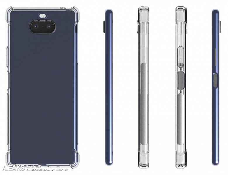 Смартфон Sony Xperia 20 в прозрачном чехле показан со всех сторон