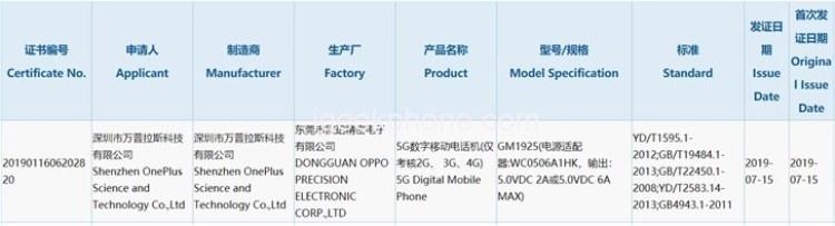 Смартфон OnePlus 7 Pro 5G получит поддержку 30-ваттной зарядки