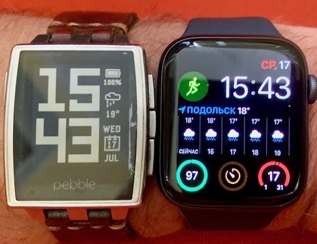 Apple Watch 4 (44 мм, 2019 г.) vs Pebble Steel Classic (2014 г.) - 1