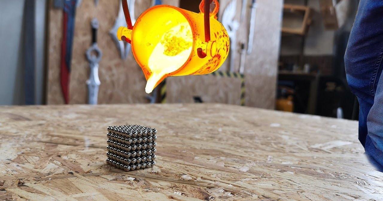 Раскаленный металл против неодимовых магнитов: зрелищное видео