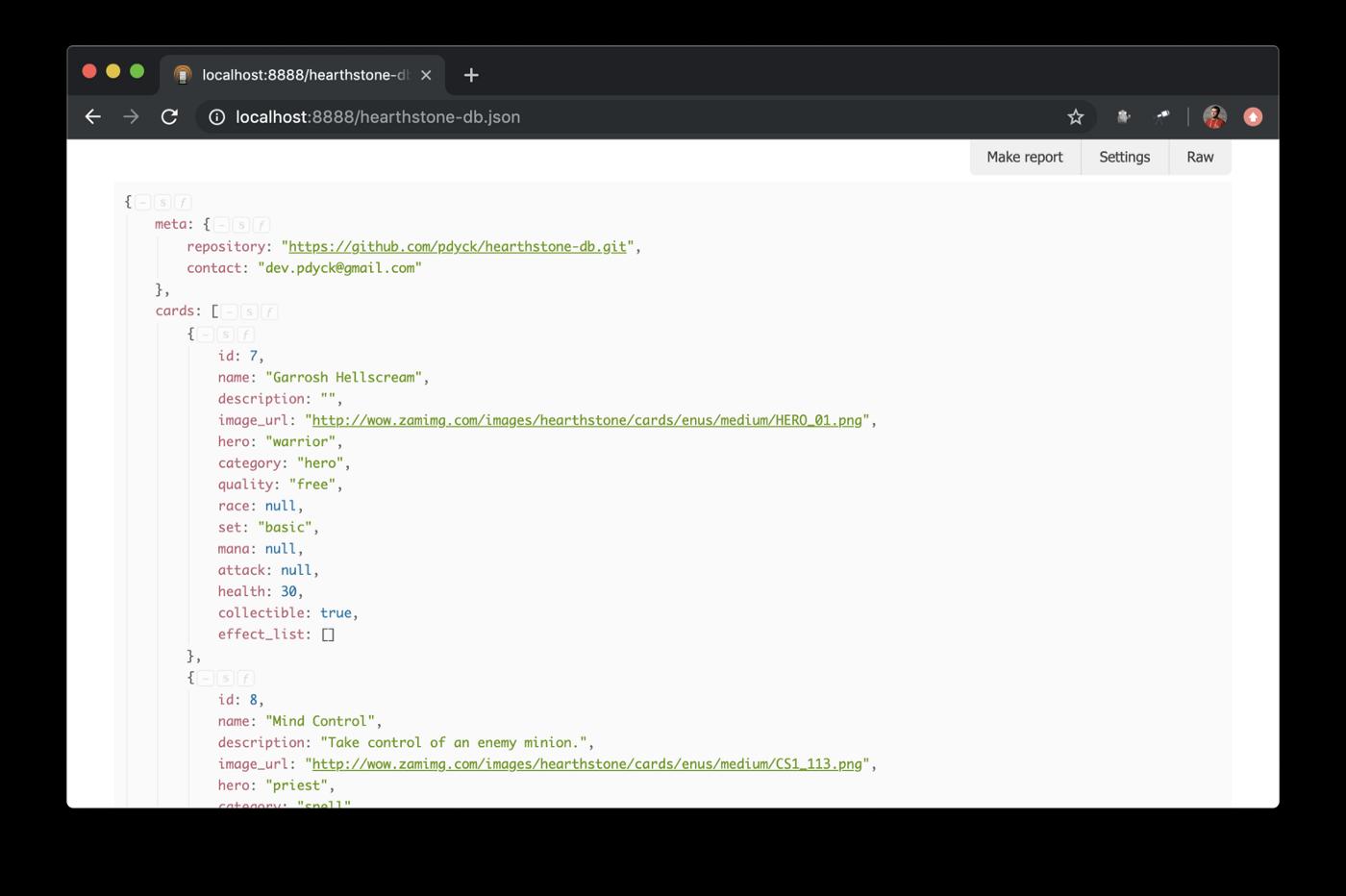 all-cards.json проекта Hearthstone-DB открытый в браузере с установленным JsonDiscovery