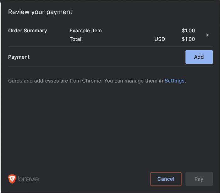 Стандартный браузерный API Payment Request - 5