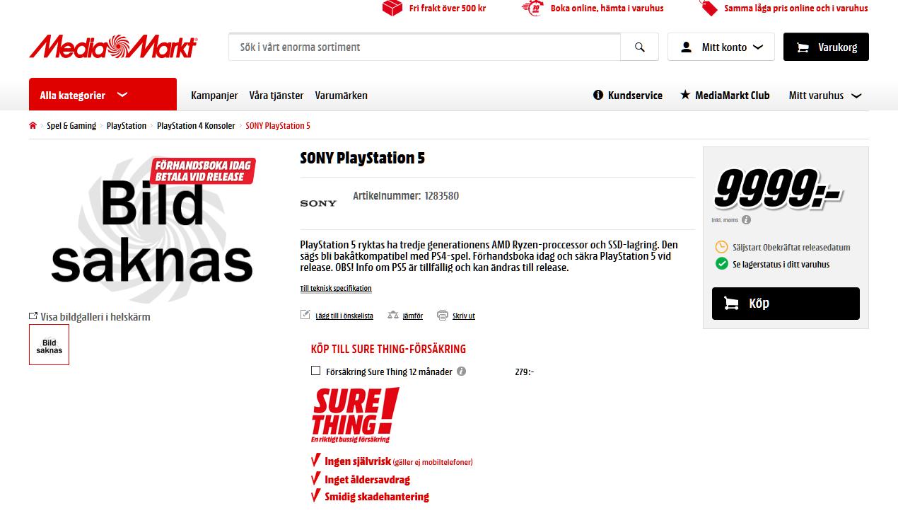 В шведском MediaMarkt появилась страница предзаказа PlayStation 5 по цене в $1050 - 1