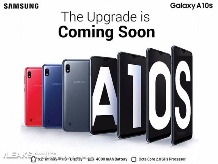 Samsung Galaxy A10s предстал на официальном изображении в разных цветах