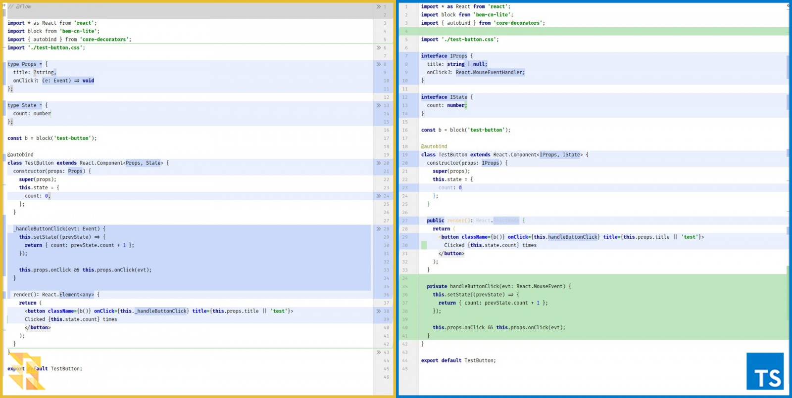 Сравнение кода на Flow и TypeScript