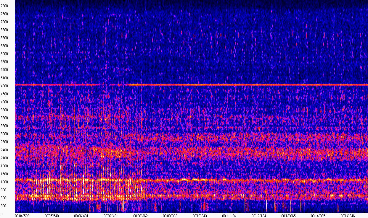 начальный фрагмент спектрограммы сигнала