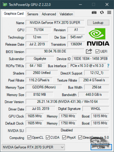 Новая статья: Обзор видеокарты Gigabyte GeForce RTX 2070 SUPER Gaming OC: стремление к 2080-й