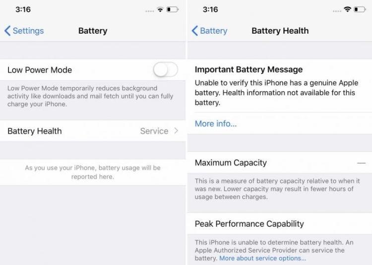 Замена батареи iPhone в неофициальном сервисе приведёт к появлению проблем