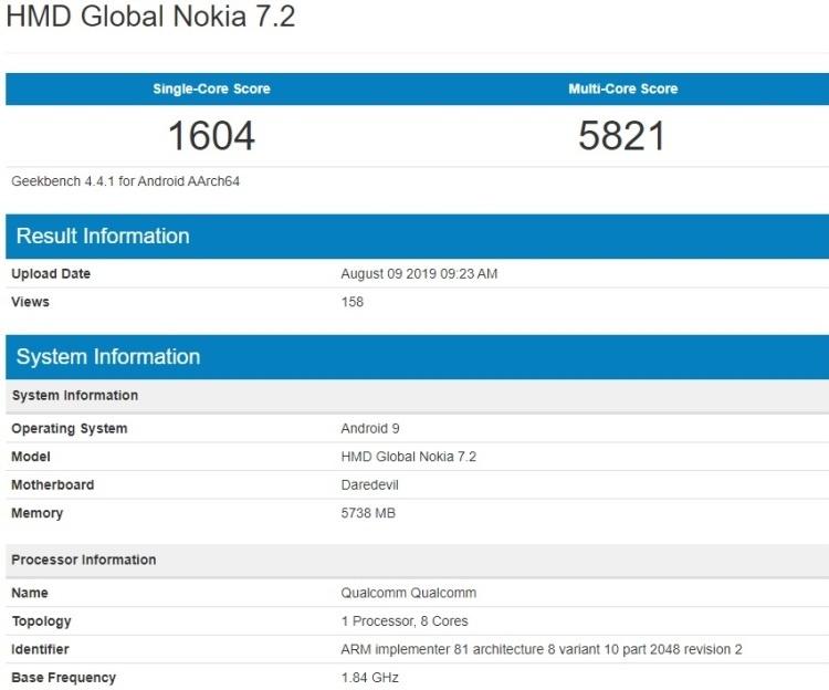 Смартфон Nokia 7.2 замечен в базе Geekbench с чипом Snapdragon 660 и 6 Гбай ОЗУ