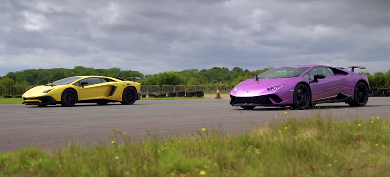 Lamborghini Aventador SV против Huracan Performante: дрэг-гонка