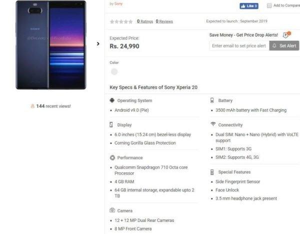 Смартфон Sony Xperia 20 замечен в магазине: Snapdragon 710, двойная камера и аккумулятор емкостью 3500 мА·ч за $350